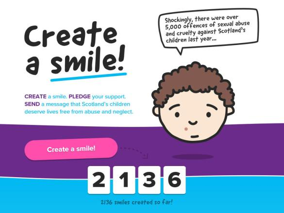 2136 smiles created for Children 1st's #createasmile campaign